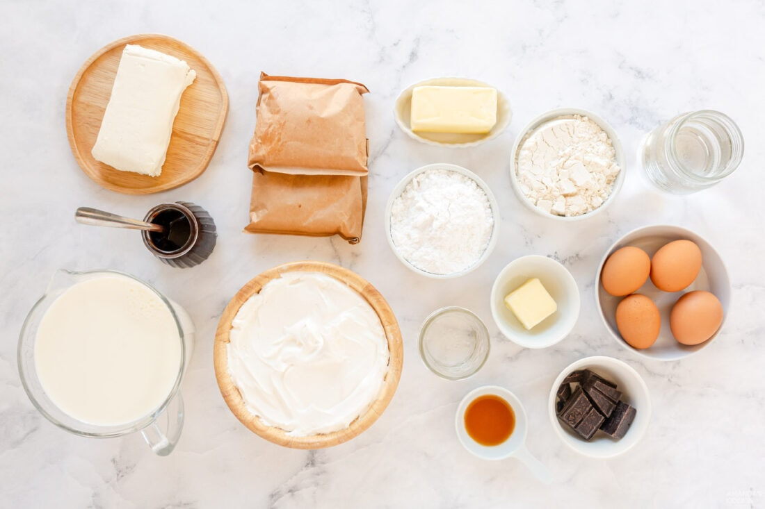 ingredients for Cream Puff Chocolate Eclair Cake