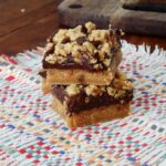 Peanut Butter Chocolate Layer Bars at AmandasCookin.com @amandaformaro