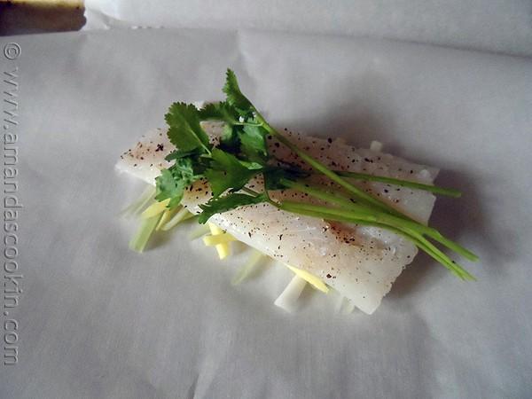 Chinese Style Parchment Fish at AmandasCookin.com @amandaformaro