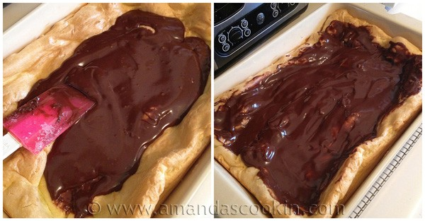 Cream Puff Chocolate Eclair Cake at AmandasCookin.com @amandaformaro
