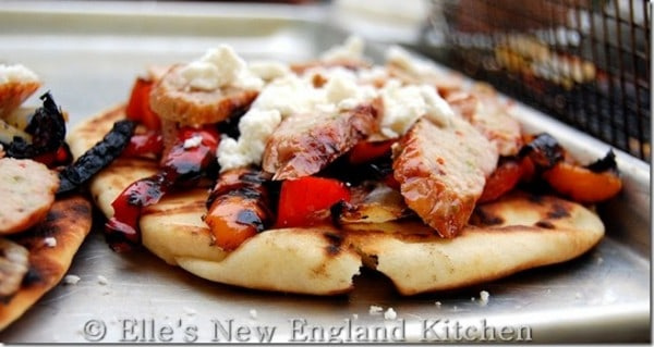 Grilled Sausage and Peppers on Naan