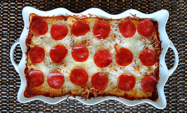 Sausage & Pepperoni Pizza Casserole