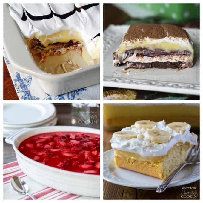 4 dessert photos in a collage