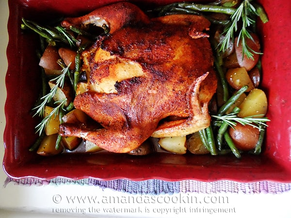 An overhead photo of a whole roasted chicken over vegetables in a roasting pan.