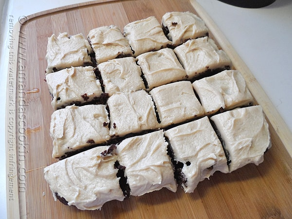 One-Bowl Fudge Brownies with Peanut Butter Frosting - AmandasCookin.com @amandaformaro