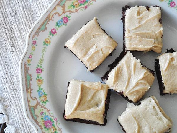 One-Bowl Fudge Brownies with Peanut Butter Frosting - AmandasCookin.com @amandaformaro