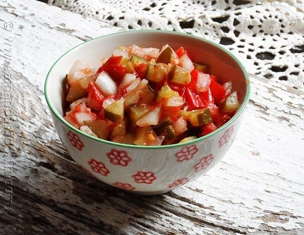 Grilled Tomato Relish - AmandasCookin.com @amandaformaro