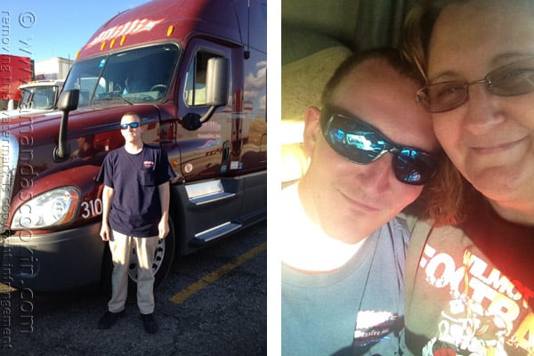 A photo of Amanda and her oldest son Tony and another photo of Tony standing next to his semi truck.