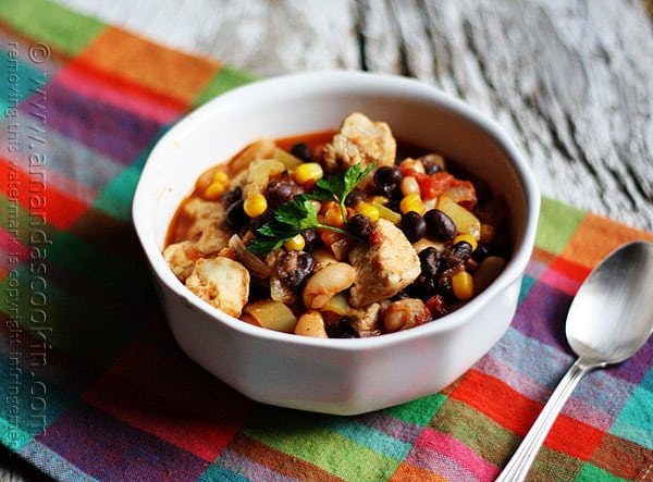 Chicken Chili with Black Beans & Corn @amandaformaro Amanda's Cookin'