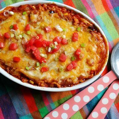 Chicken Tostada Casserole @amandaformaro Amanda's Cookin'
