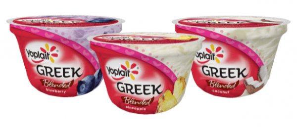 A photo of three Yoplait Greek yogurt containers.