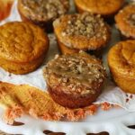A close up photo of pumpkin mini cakes with cinnamon streusel topping.