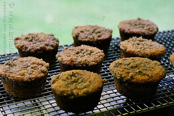 A close up photo of pumpkin mini cakes with cinnamon streusel topping on a cooling rack.