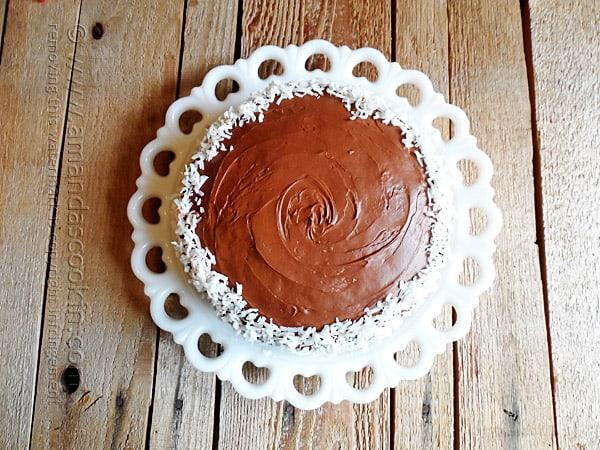 Almond Joy Coconut Snowflake Cake @amandaformaro Amanda's Cookin'