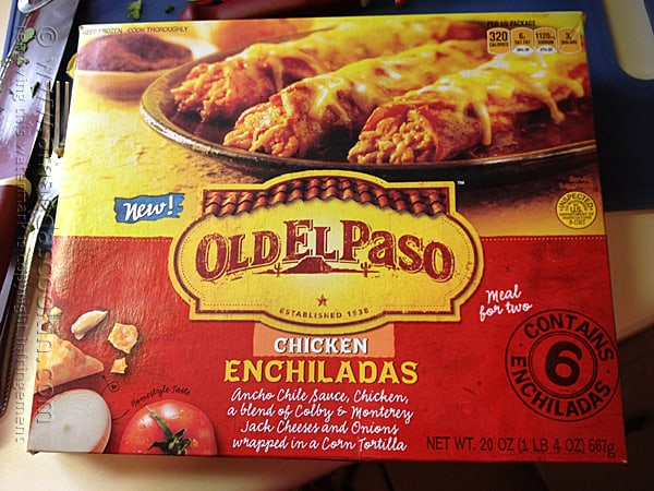 A close up photo of a package of Old El Paso chicken enchiladas.