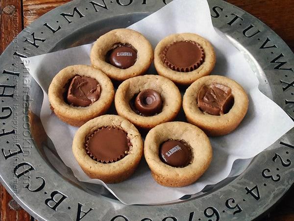 Candy Bar Peanut Butter Cookie Cups @amandaformaro Amanda's Cookin'