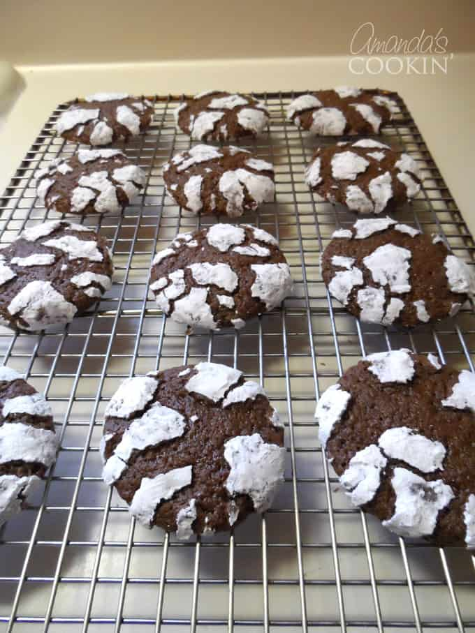 rack of chocolate cookies