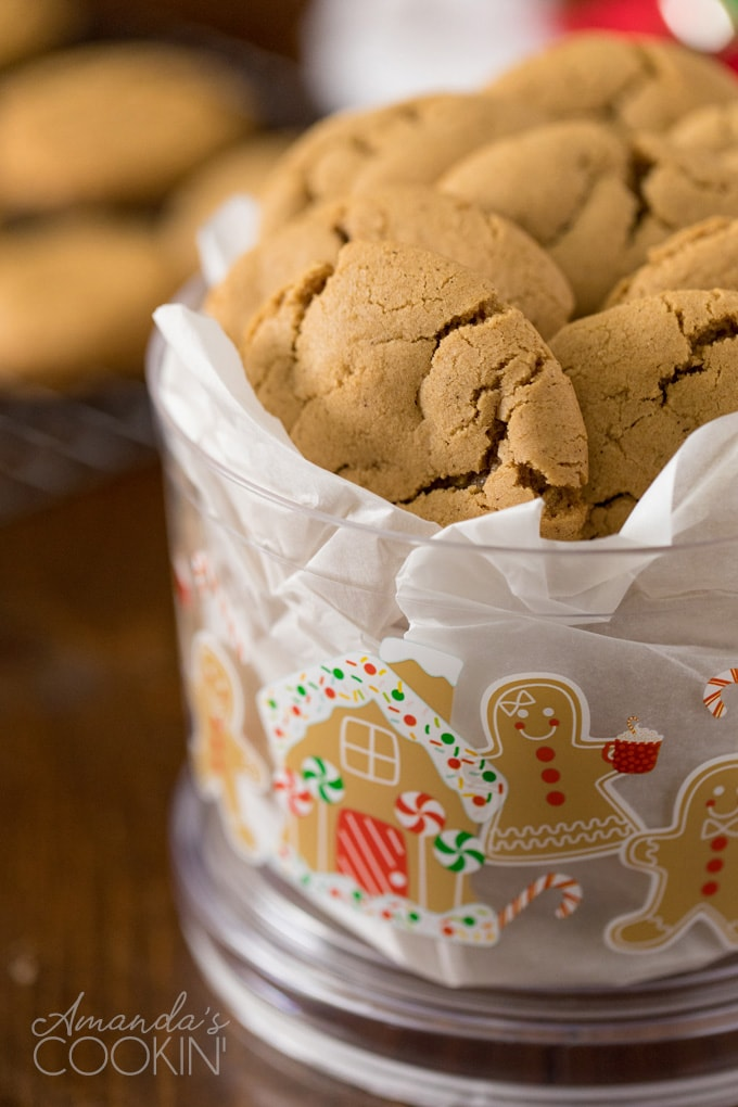 christmas container full of gingersnaps