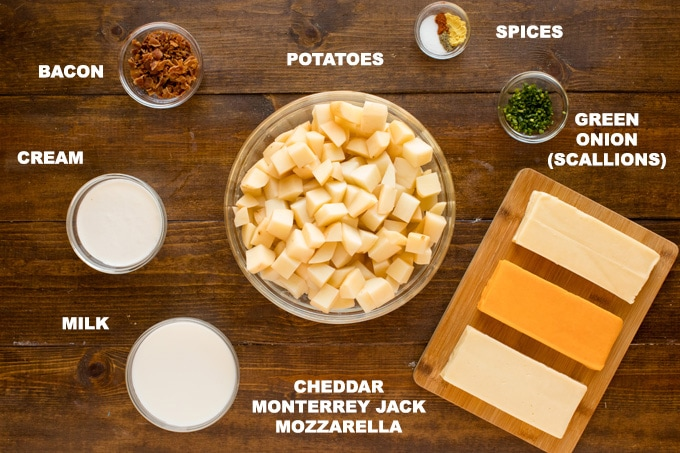 ingredients needed for making bacon cheese potatoes