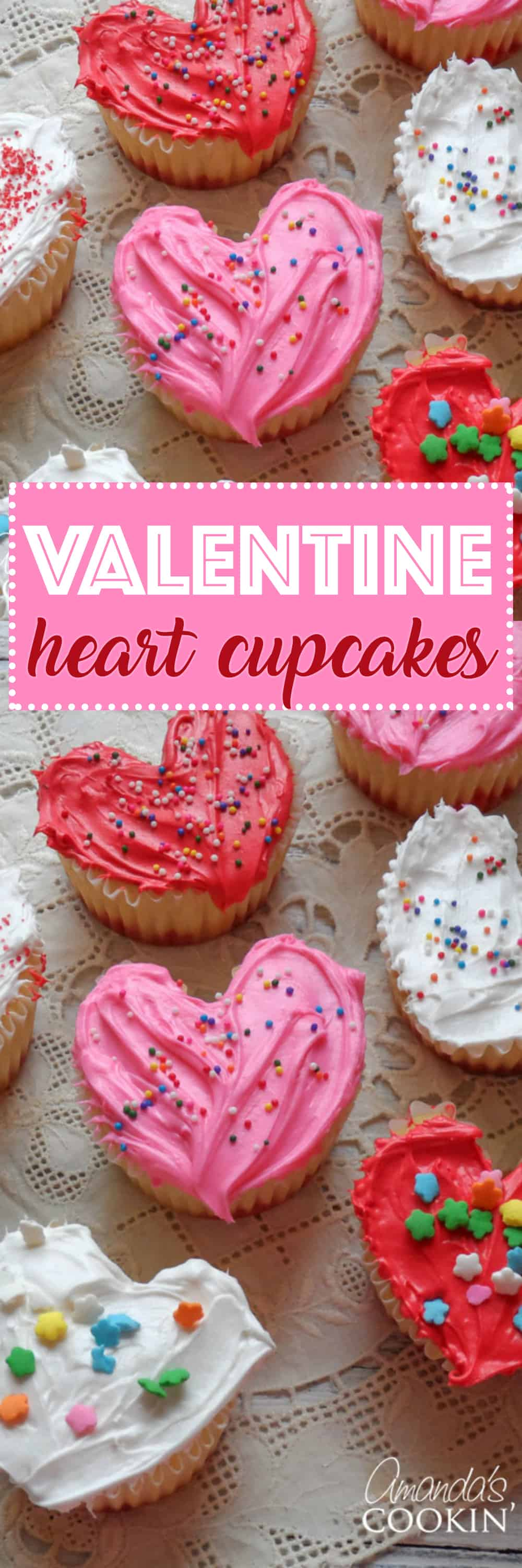 Valentine Cupcakes Frosted Hearts for Valentines Day