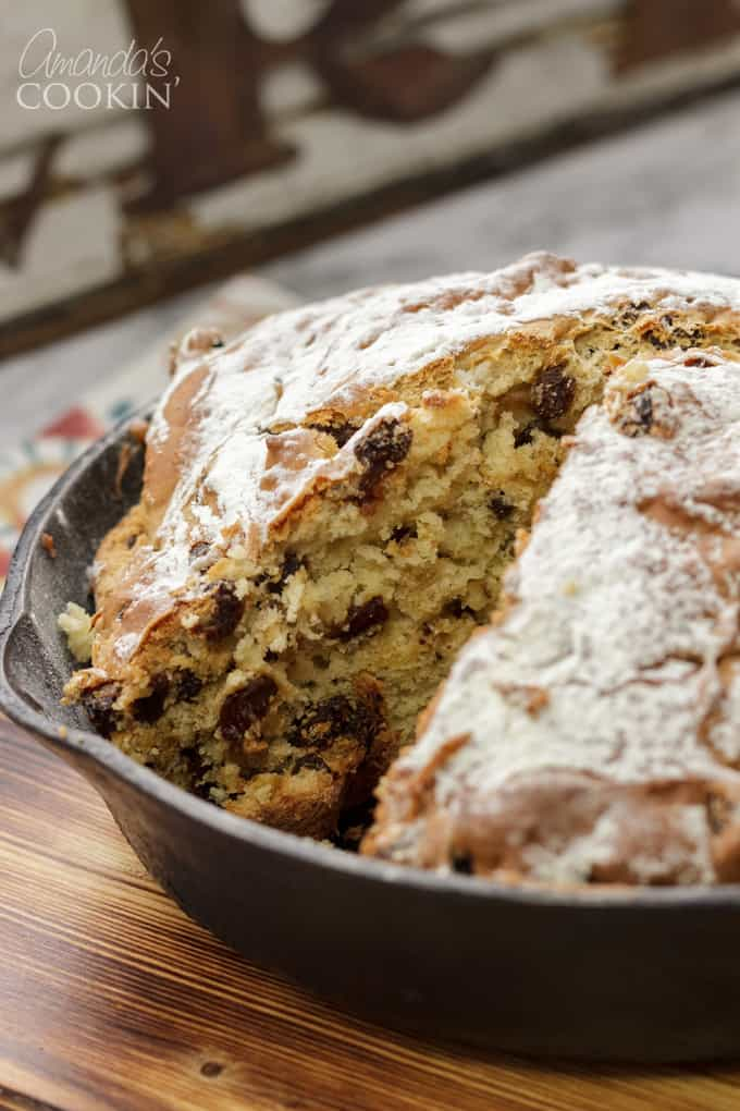 Irish soda bread with a slice missing