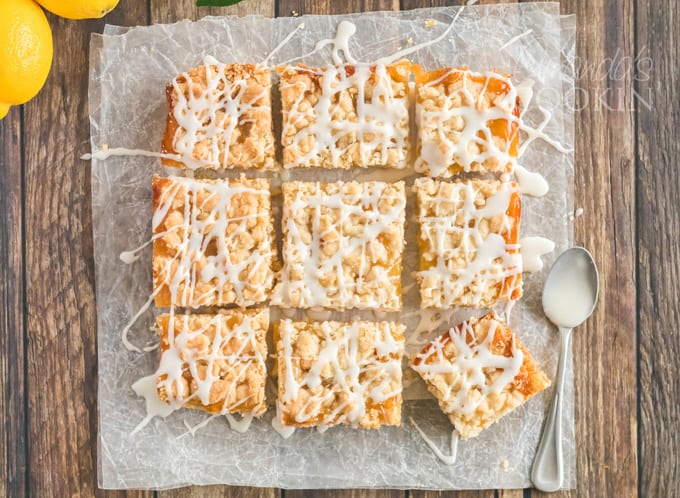 These lemon streusel squares are based off of a berry streusel bar that melts in your mouth. These lemon streusel bars are just as amazing.