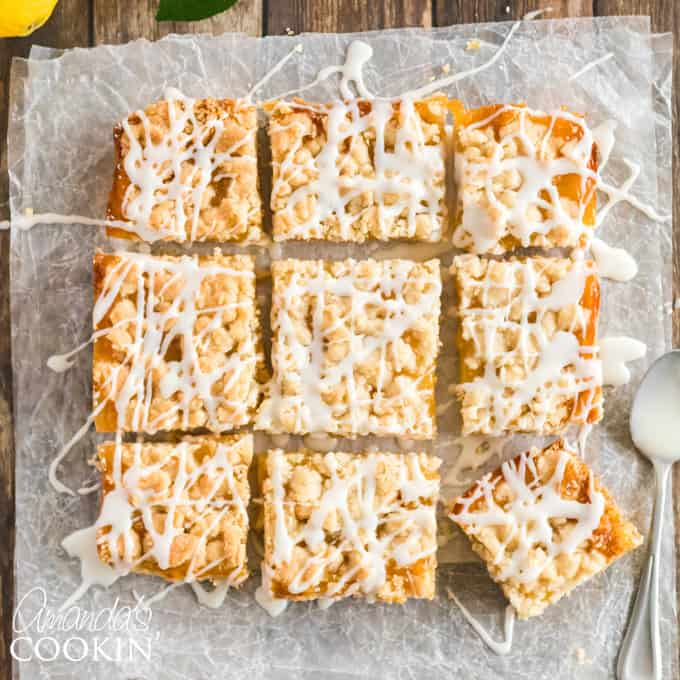 Lemon Streusel Bars with drizzle