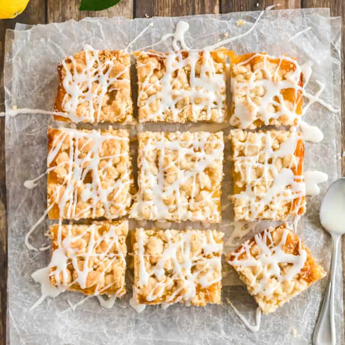 drizzled lemon squares