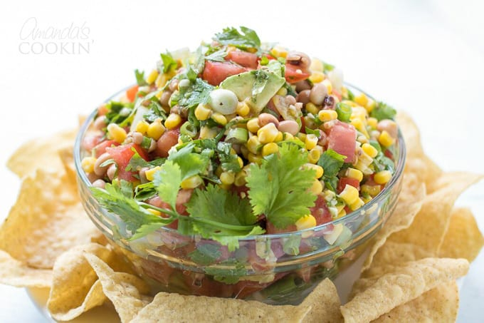Cowboy Caviar in a bowl with chips