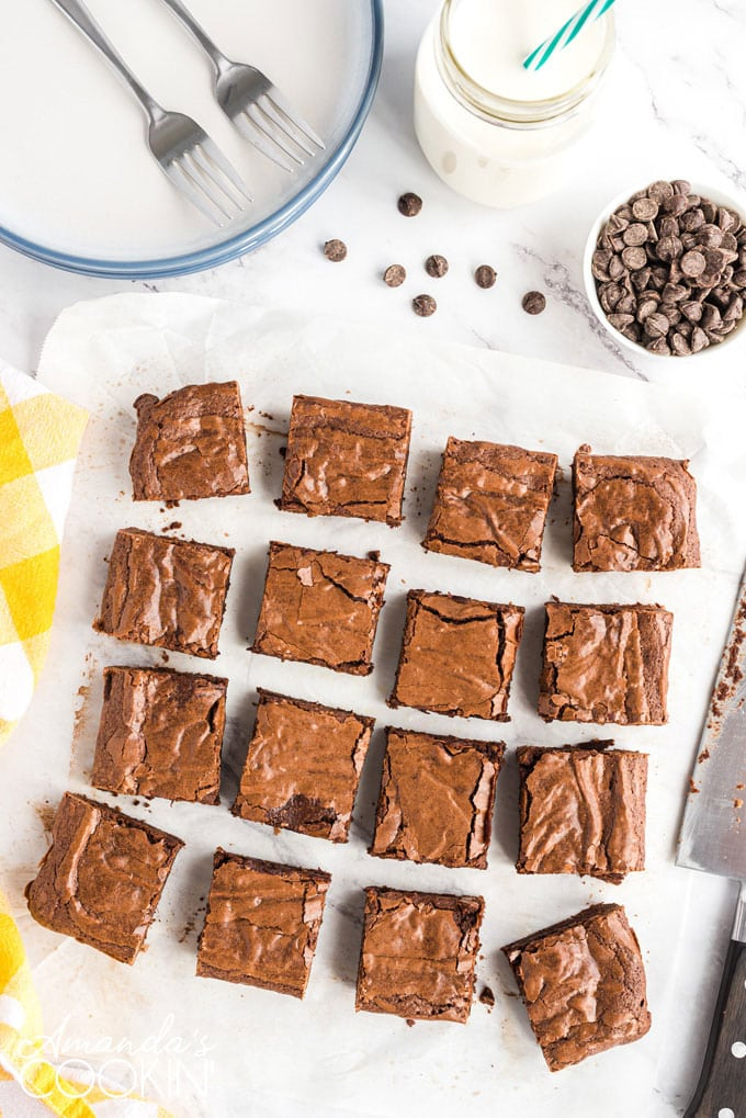 brownie squares on parchment
