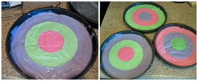 Checkerboard Easter Cake steps 3 and 4