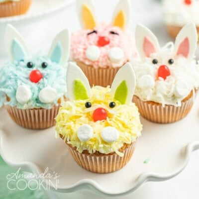A close up of a bunny decorated cupcakes