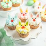 A close up of bunny decorated cupcakes