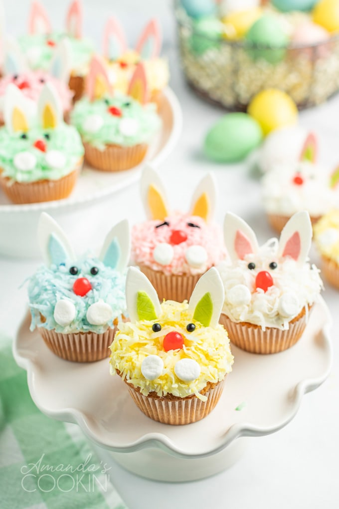 colorful easter bunny cupcakes
