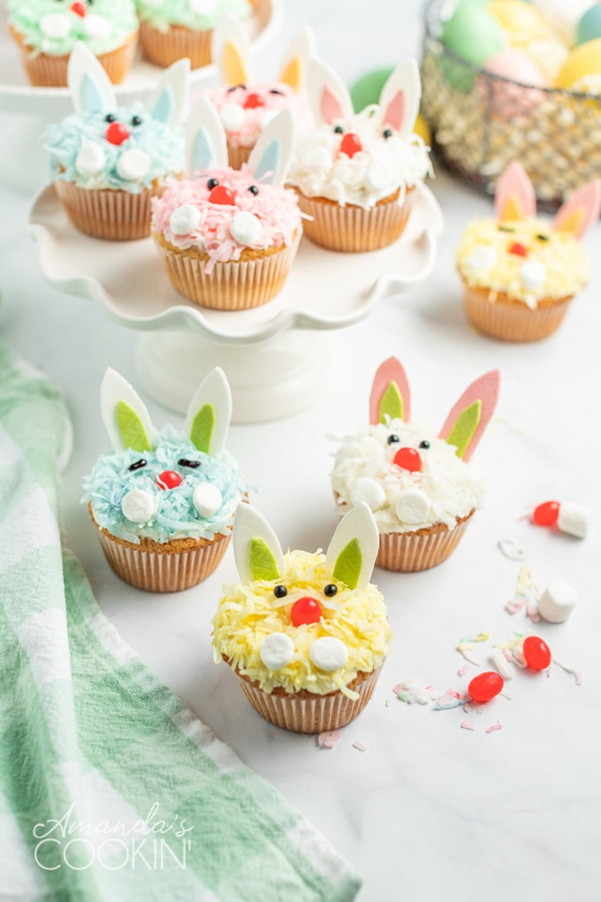 colorful bunny cupcakes for easter