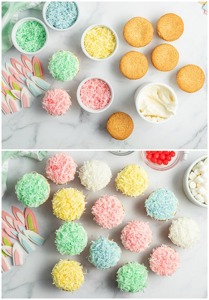 frosting cupcakes an dipping in coconut