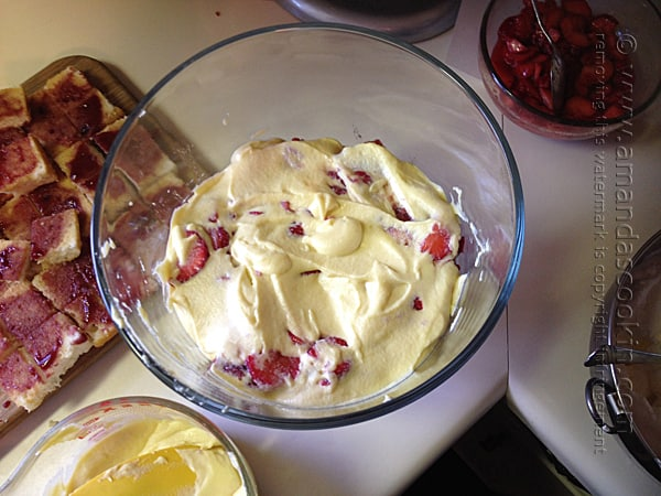 top the macerated berries with custard