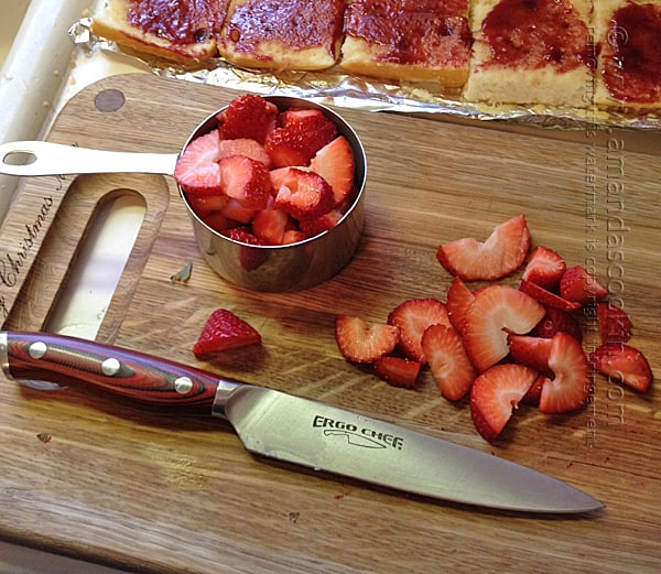 cut fresh strawberries into slices