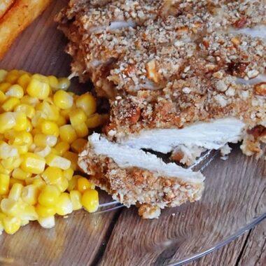 Pretzel Chicken with Honey Mustard Dressing @amandaformaro Amanda's Cookin'
