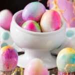 A bowl of dyed easter eggs