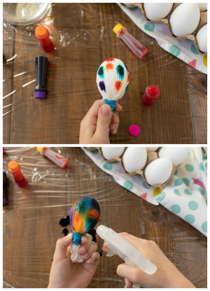 adding food coloring to egg
