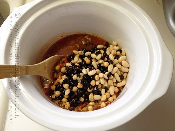 Add drained beans to salsa mixture in the crock pot