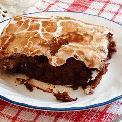 A close up photo of a piece of copycat Cracker Barrel coke cake resting on a plate.