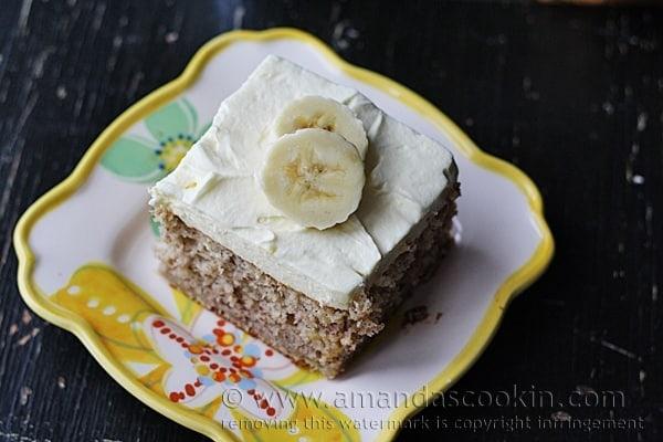 slice of banana cake on a plate