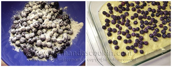 Toss the blueberries with flour and sprinkle them onto the cake