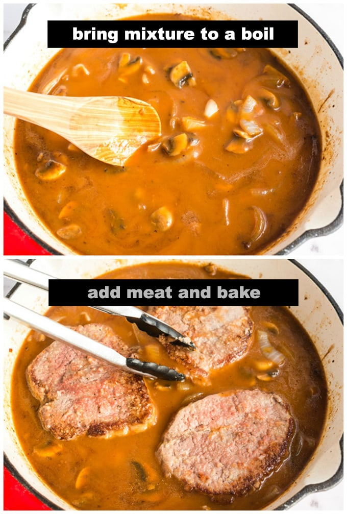 adding meat into mushroom gravy in pan