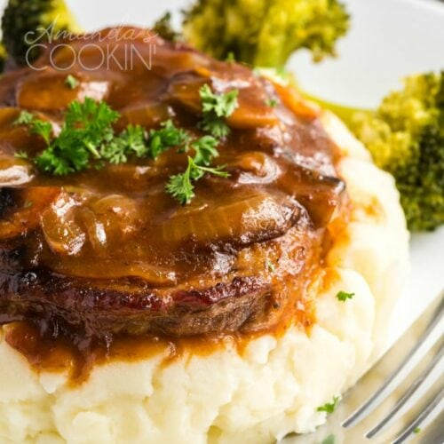 swiss steak on mashed potatoes
