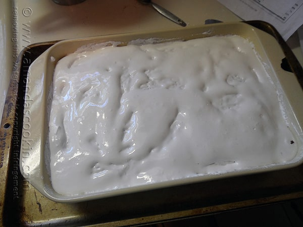 Spread the marshmallow creme over the top of the hot cake