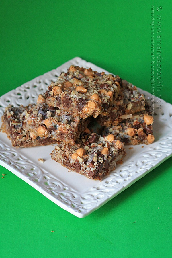 Seven Layer Bars - no mixing, no bowl! Just layer and bake, also known as Hello Dolly Bars or Magic Cookie Bars.