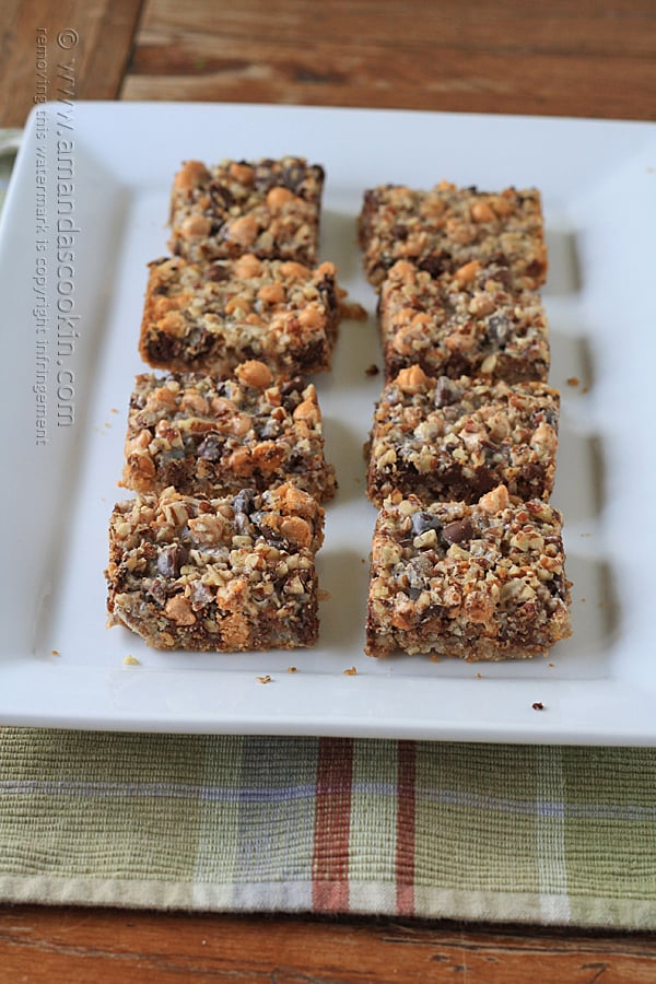 A classic vintage recipe for Seven Layer Bars, also known as Hello Dollys or Magic Cookie Bars.